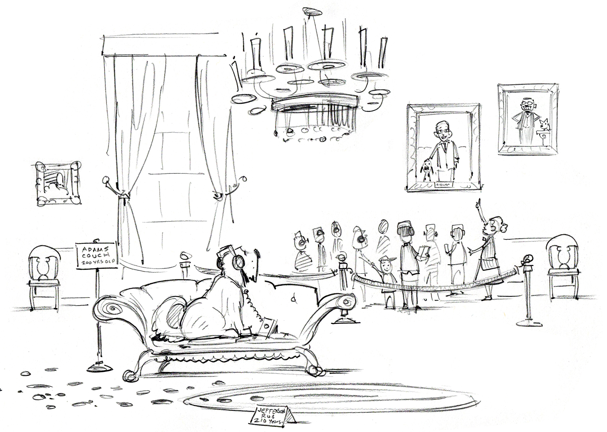 First sketch for  White House Tour . Note how the final art was simplified.