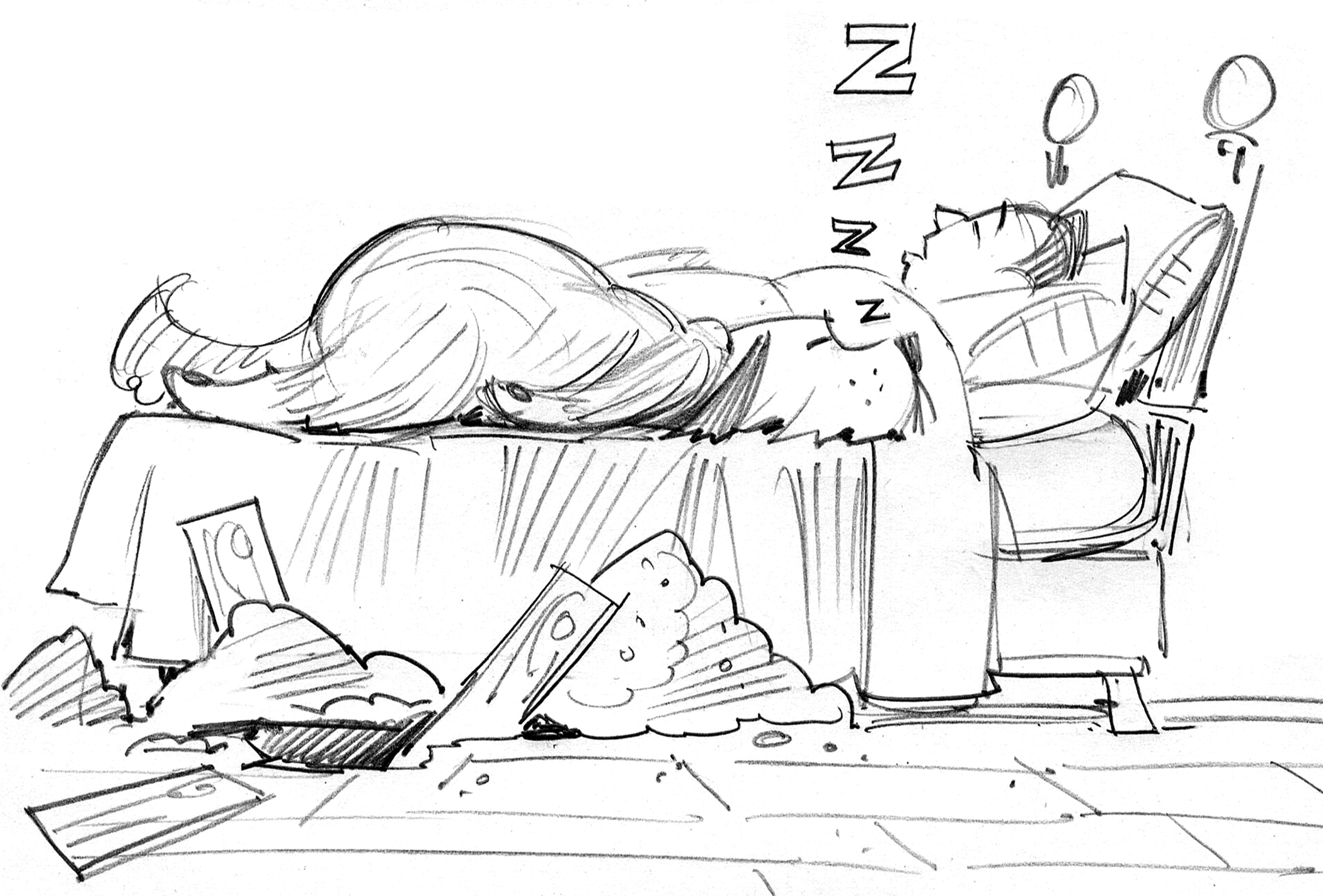 Sketch showing Doug finally coming home. Very similar to final art (not shown).