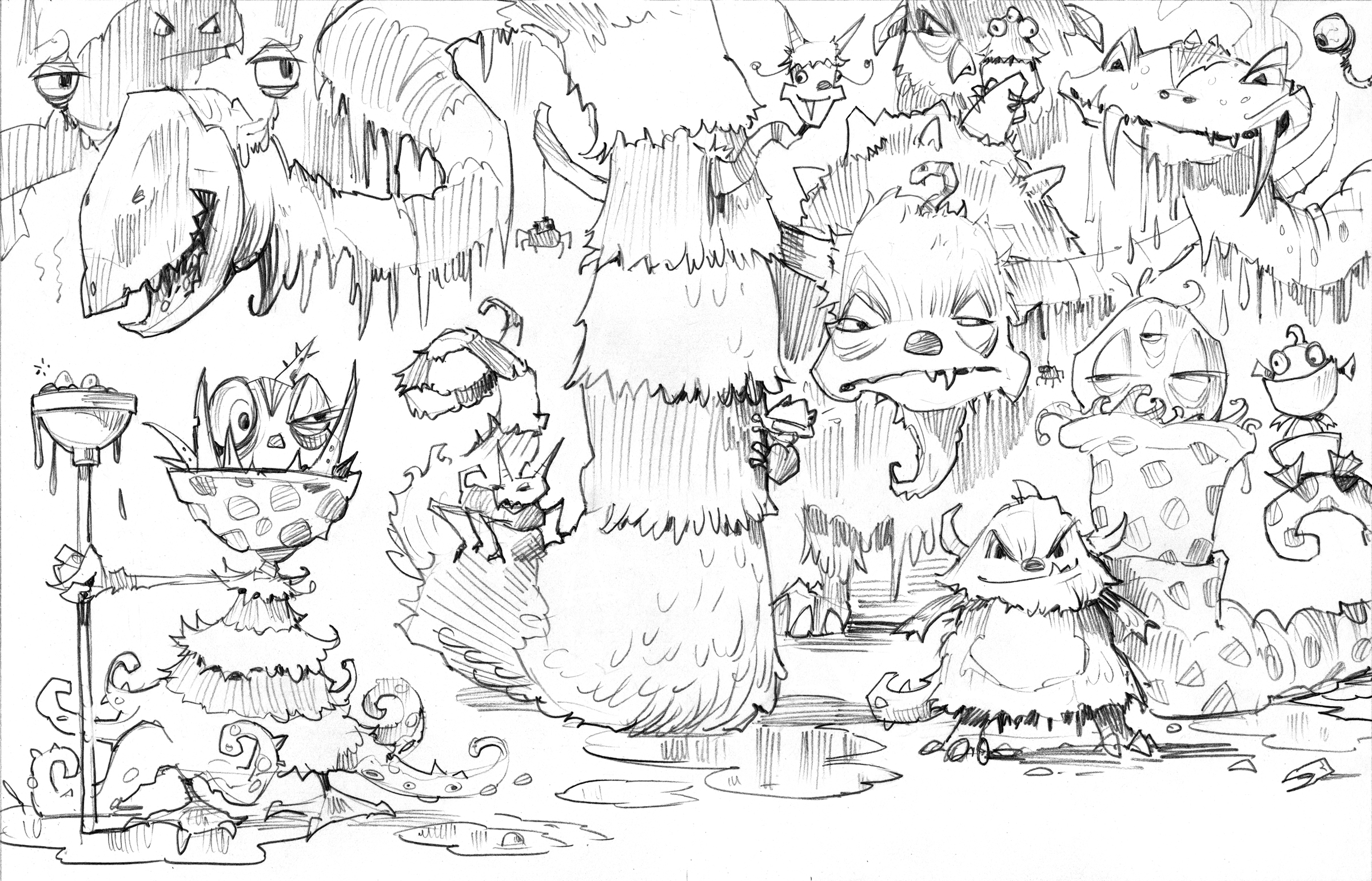 An early sketch for the cover. The idea was always to have a crowd of monsters, with no clue as to which one is the most terrible, but this was too crowded.