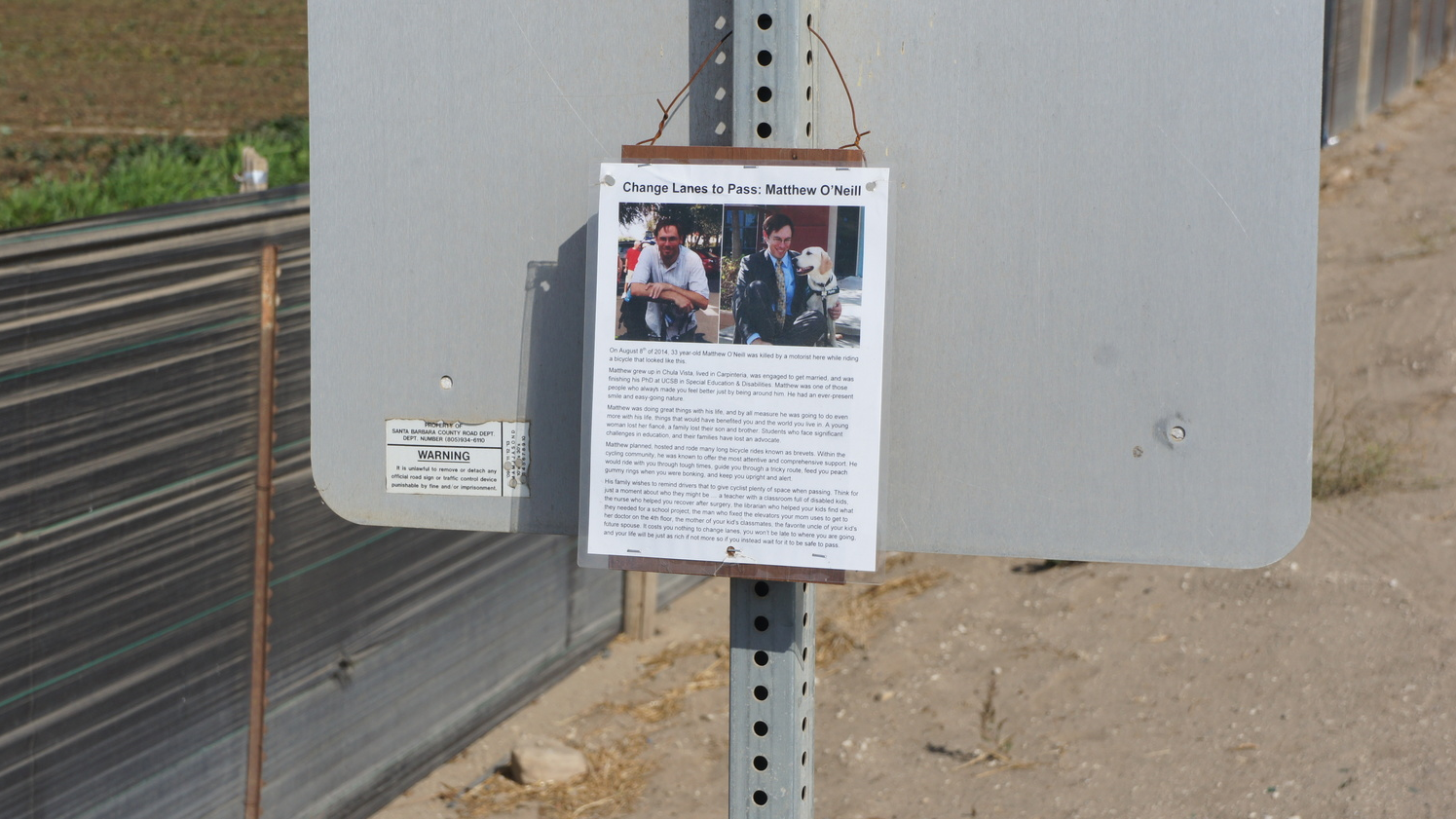 Memorial write-up about Matthew O'Neill left on Foxen Canyon Road with the Ghost Recumbent Bike