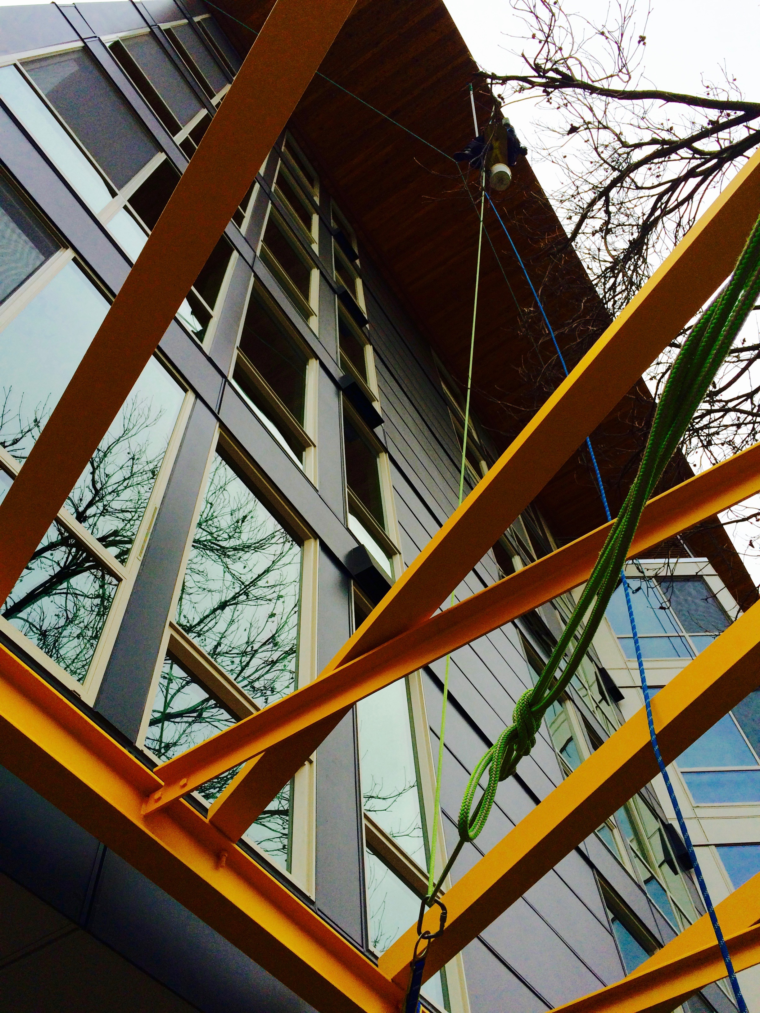 Technical Overhang Window Cleaning on The Cue in Seattle.