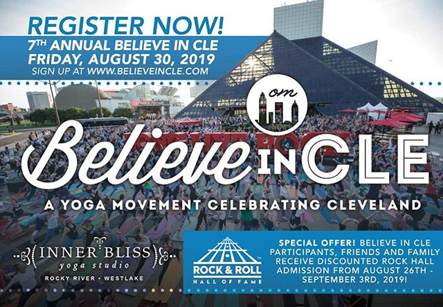 You can sign up now for our 7th annual free yoga party in front of the world famous @rockhall 🙌🏻 Go to OUR NEXT EVENT on believeincle.com to register. See you on August 30th! #believeincle