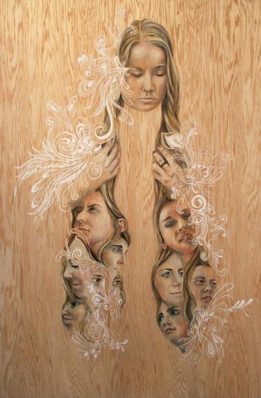 We are all Here I , 2013  Oil, graphite and calligraphy ink on wood panel