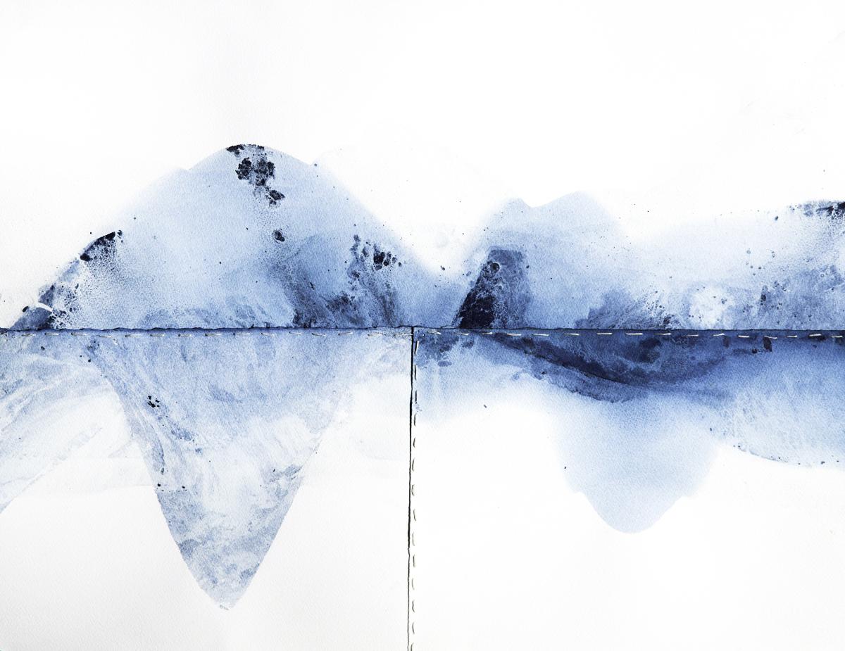 "Fera Space IX,  2016  28"" x 34"" | Indigo on paper with bookbinding thread"