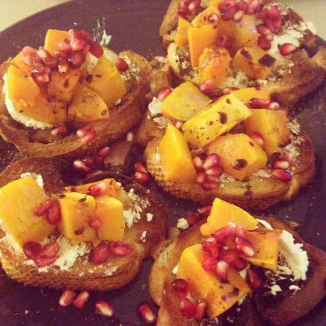 Butternut Squash and Pomegranate Crostini