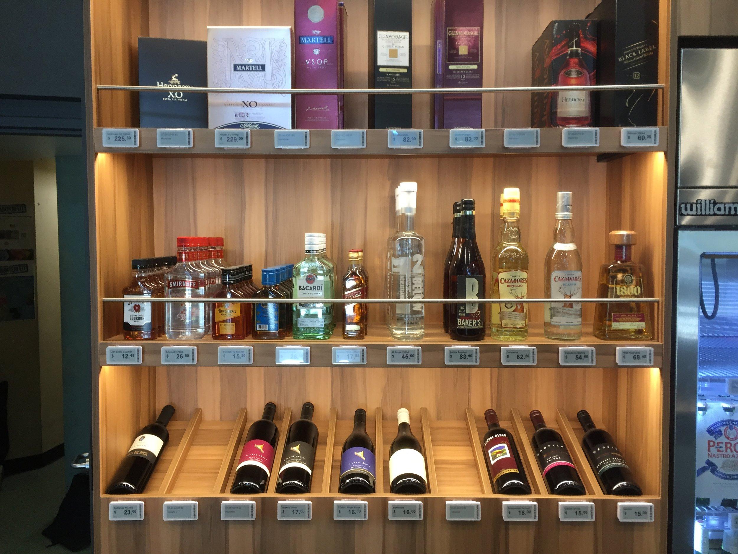 Sydney bottle shop liquor display with ESLs