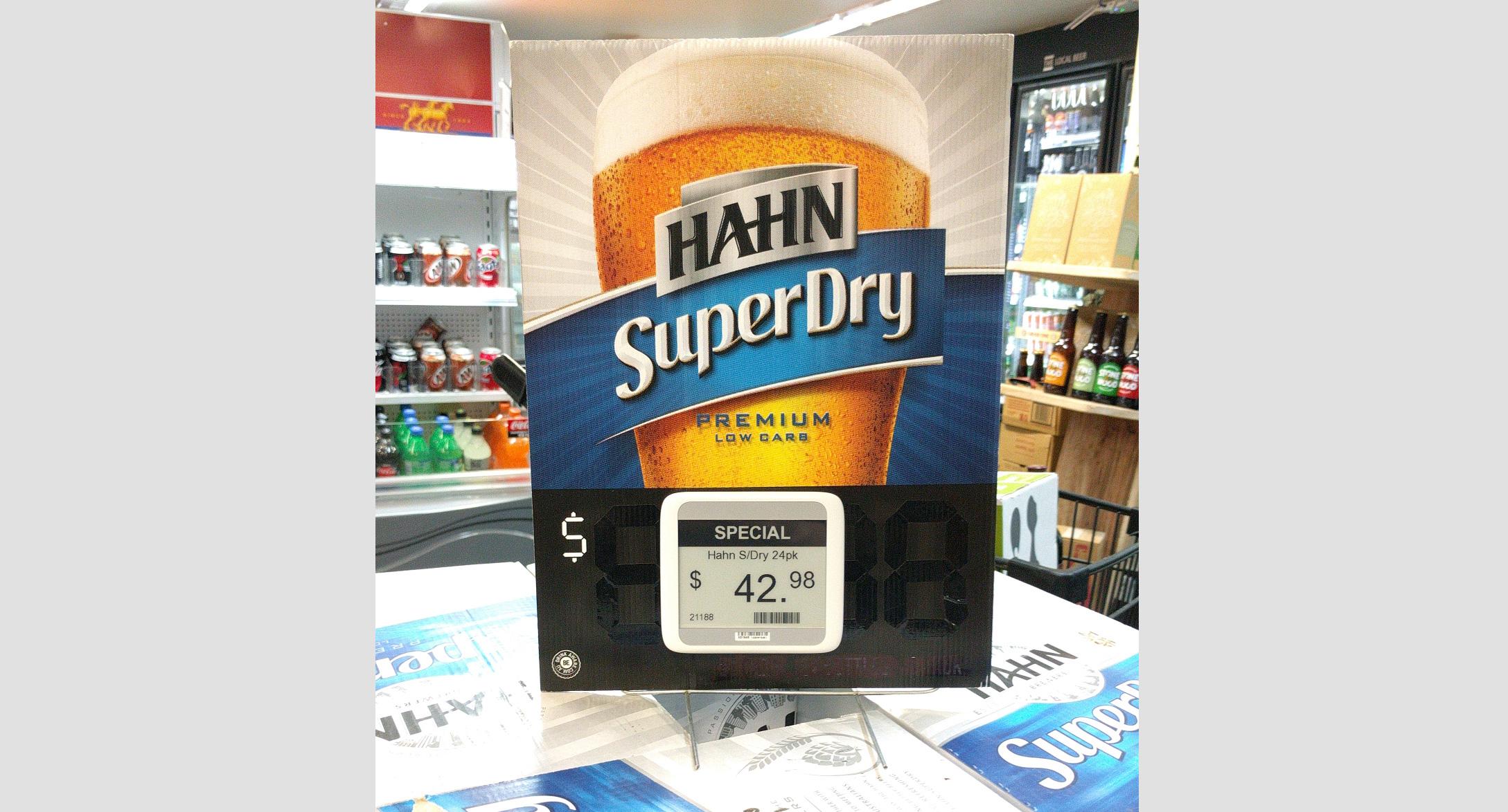 Promotional display for Hahn using esLabels XL epaper ESL