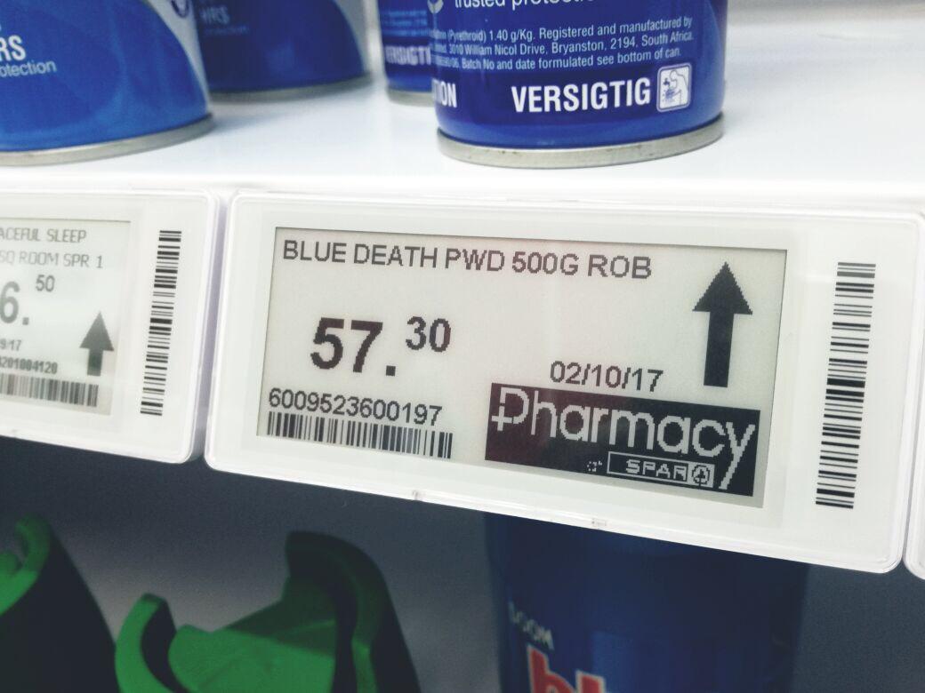 SPAR Pharmacy logo on electronic shelf label