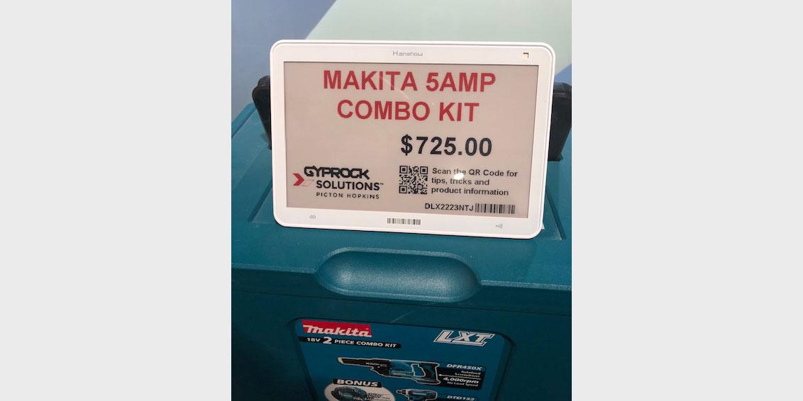 Size XXXL epaper electronic shelf label in a hardware store
