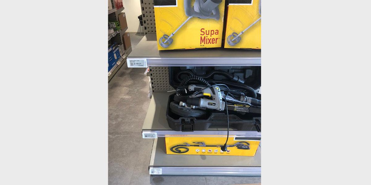 ESLs fixed to shelving in an Australian hardware store