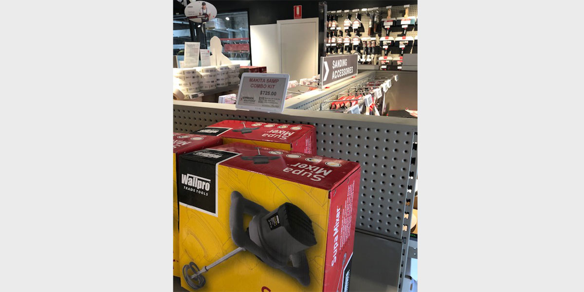 Interactive electronic shelf labels in a building, hardware & DYI store