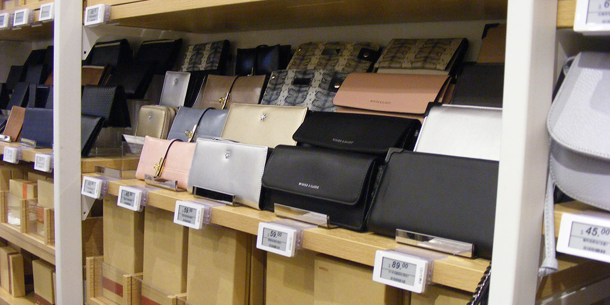 Digital price tags in a department store