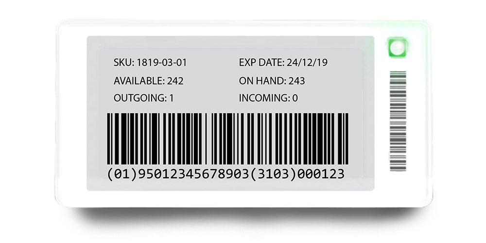 ESL showing GS1 level barcode and inventory data - ESLs for warehouses