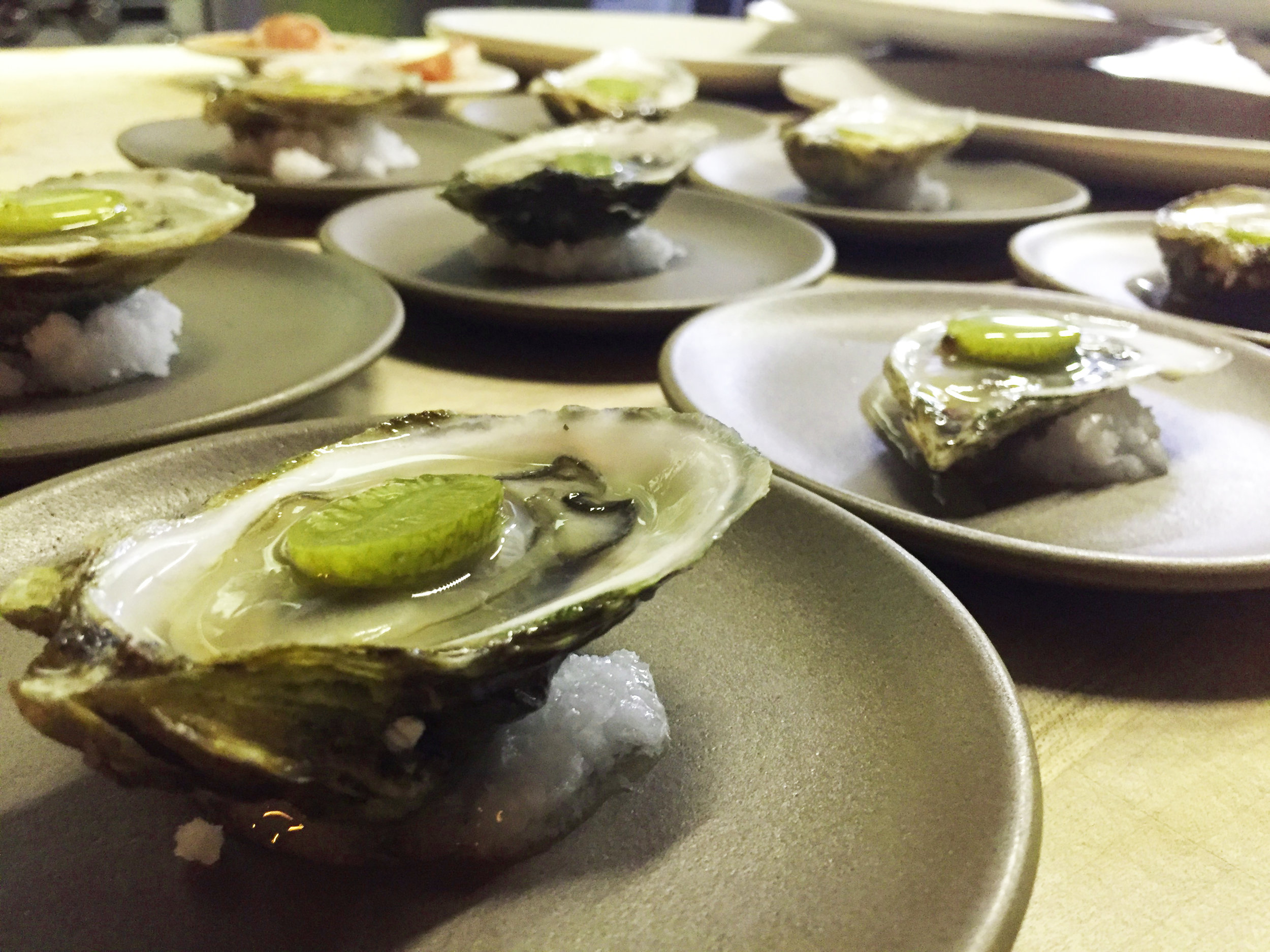 Oysters with a pickled watermelon cucumber are the perfect way to start the evening. An amuse with scents of the ocean. Chef Jordan Ware works next to the guests to provide a wonderful connection with the food.