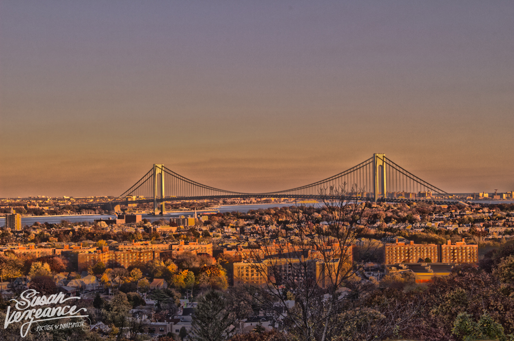 HDR Verrazano Bridge, Staten Island. Composed of 7 exposures; tripod.