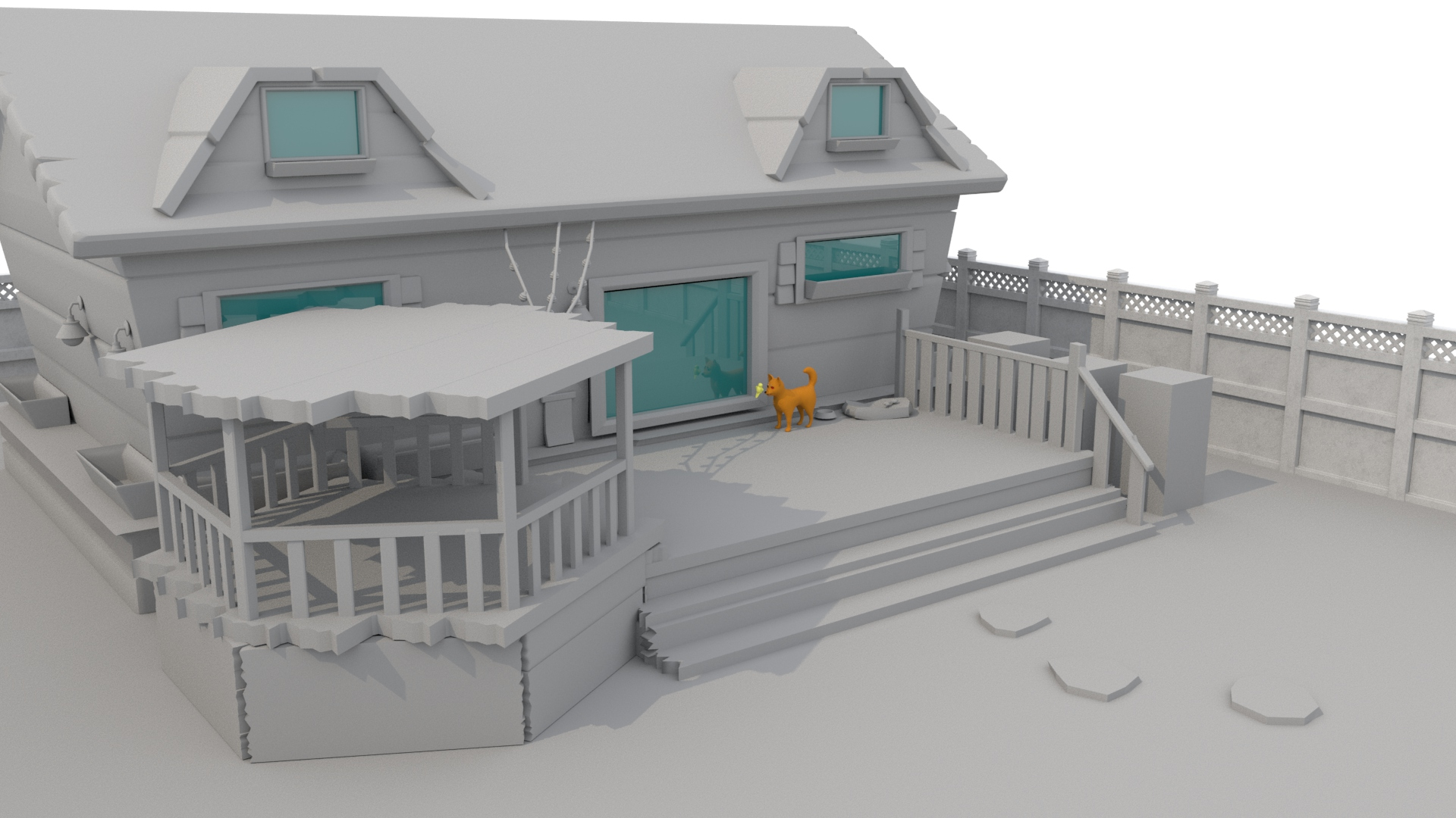 Modeled backyard set, untextured. Roxy and Cheeby in scene for reference.