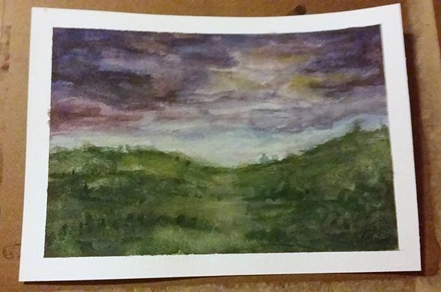 """Playing with watercolours today. 9.8"""" × 7"""" paper"""