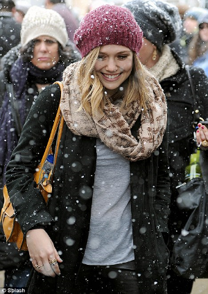 Elizabeth Olsen* rocked the natural look at the 2012 Sundance Film  Festival. Her hair is worn in a soft, natural wave under the warm protection of a  beanie. Eyes are natural with a pop of dark mascara and shiny, subtle lips.   *photo by Splash for  Daily Mail Reporter .