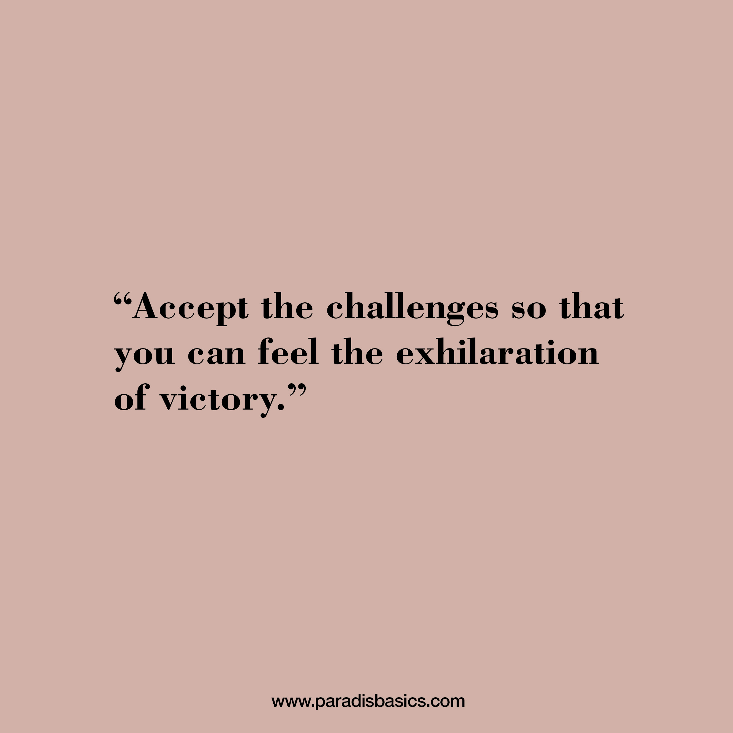 Accept the challenges so that you can feel the exhilaration of victory
