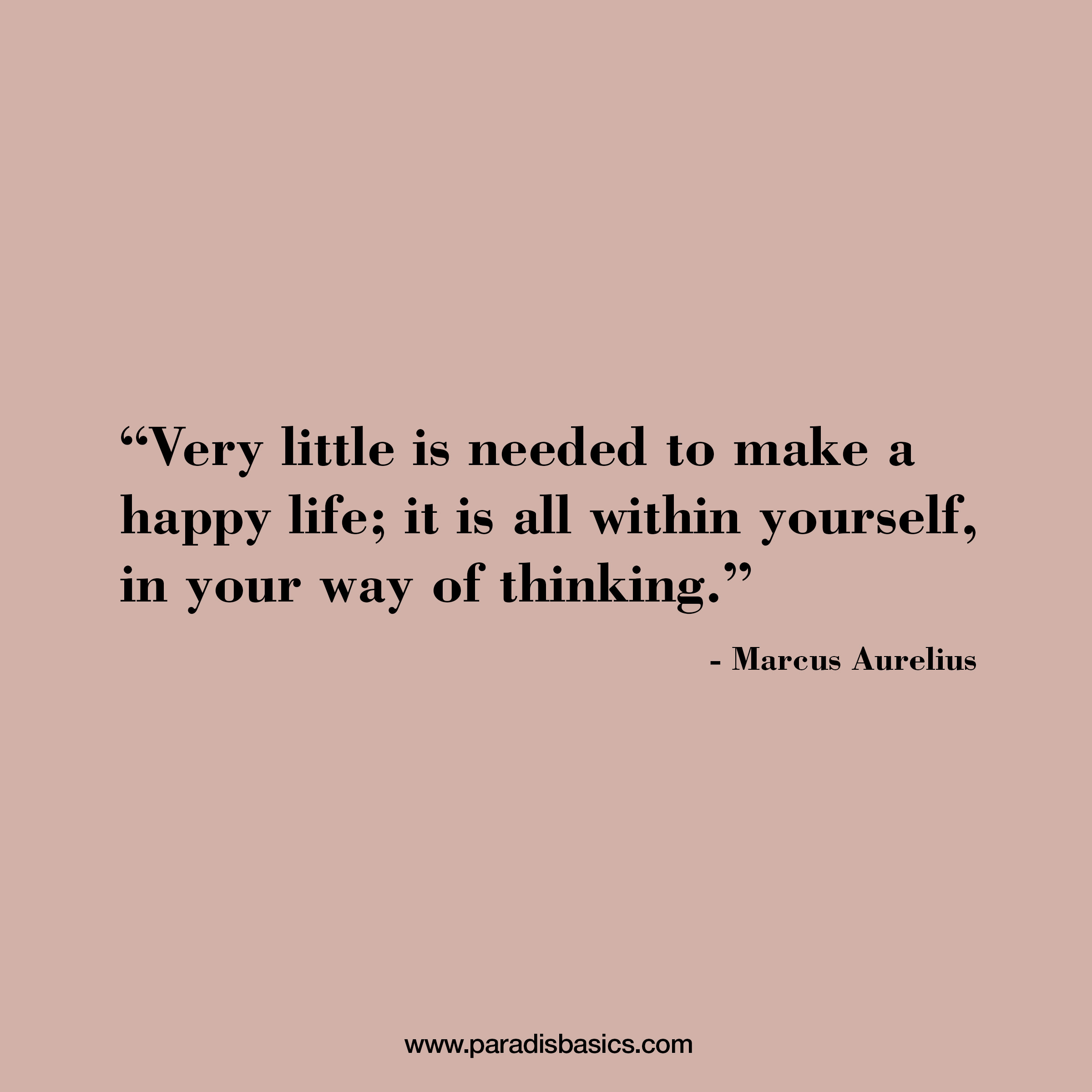 """""""Very little is needed to make a happy life; it is all within yourself, in your way of thinking."""" Marcus Aurelius"""