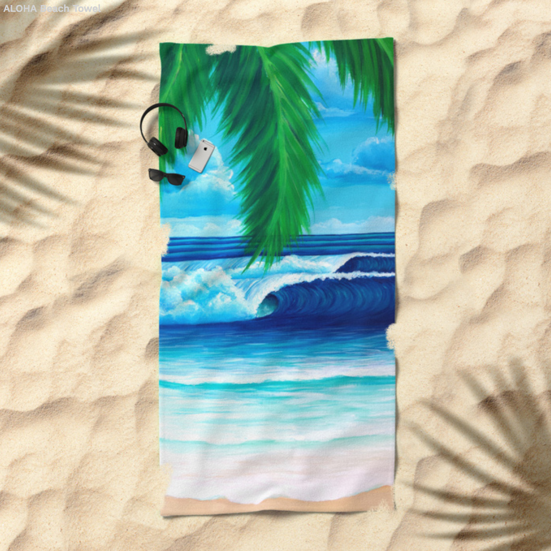 Aloha Beach Towel Stephanie Boinay Art