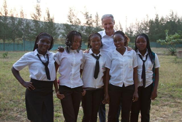 Sponsored girls at 4th of October Secondary School with David