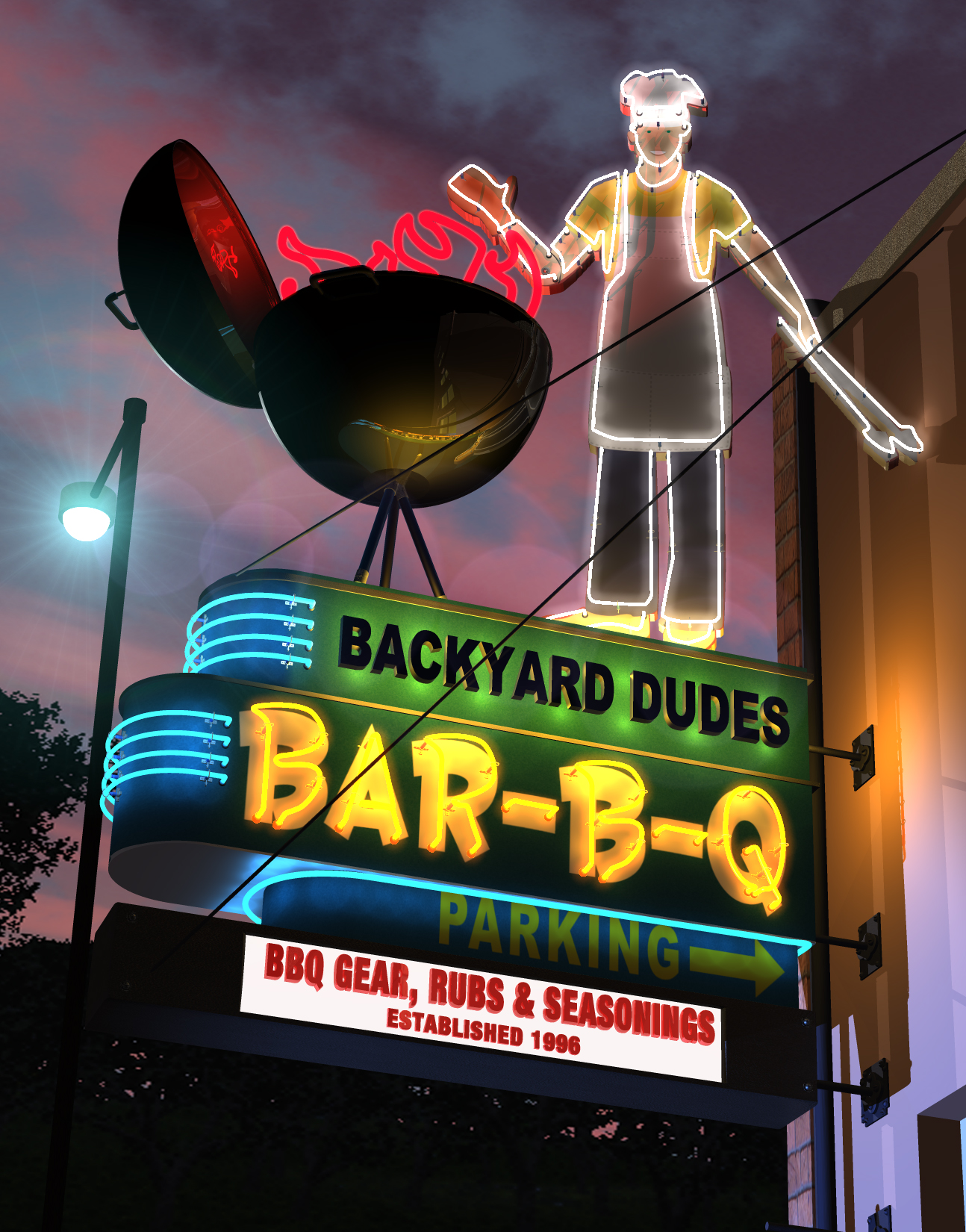 backyarddudes neon sign logo