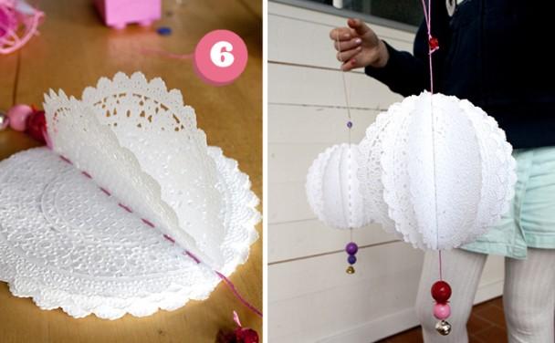 how to make paper doily pom poms