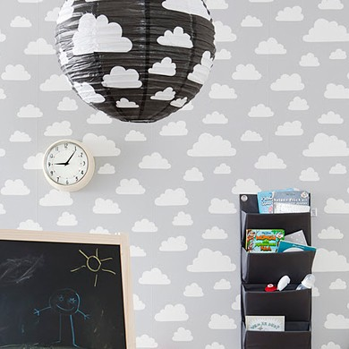8. The bubble cloud motif is a retro classic. Adorn your lights with this lampshade and gaze up,£10.00,  The Pippa and Ike Show  .