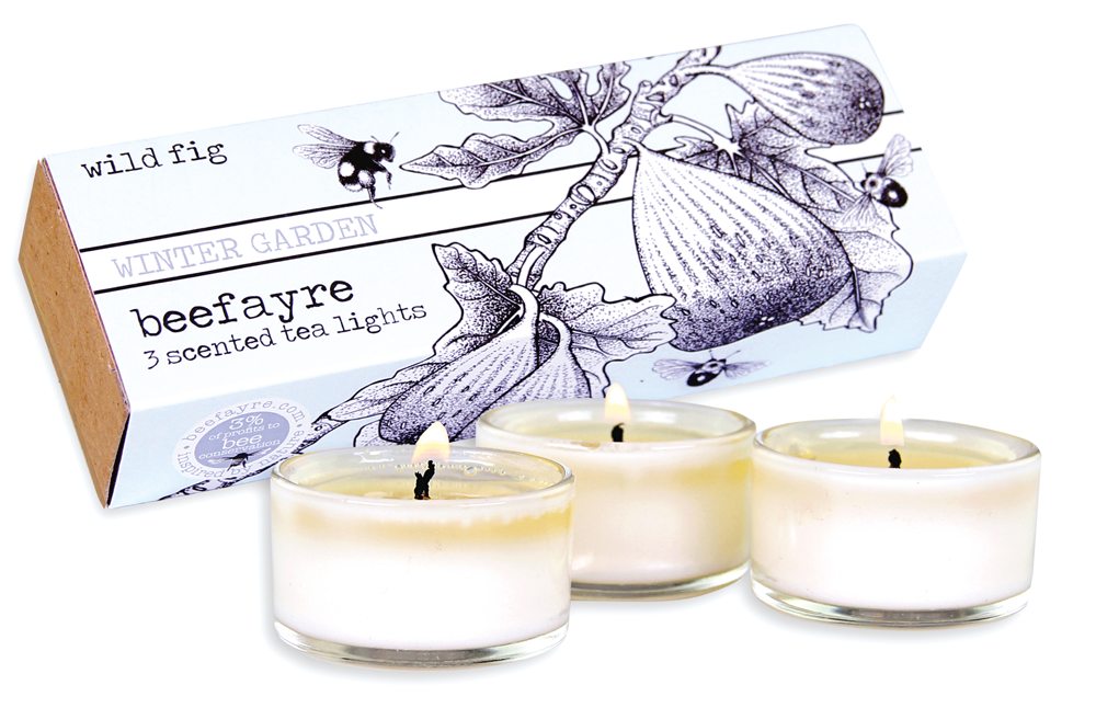 Beefayre Wild Fig tea light candles, lip balm and greeting card when you take out a subscription to The Simple Things