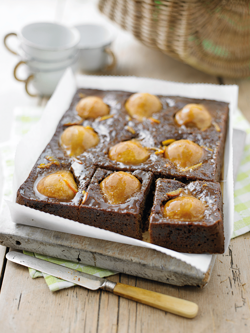 Recipe: Mandarin, pear and ginger cake.Photography by Miles New