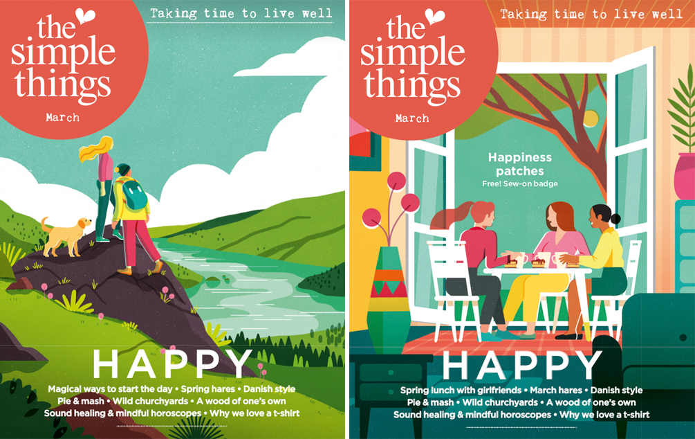 The Simple Things March issue comes with two cover options and a free Happiness patch. What makes you happy -being active?Connecting with friends? Something else?