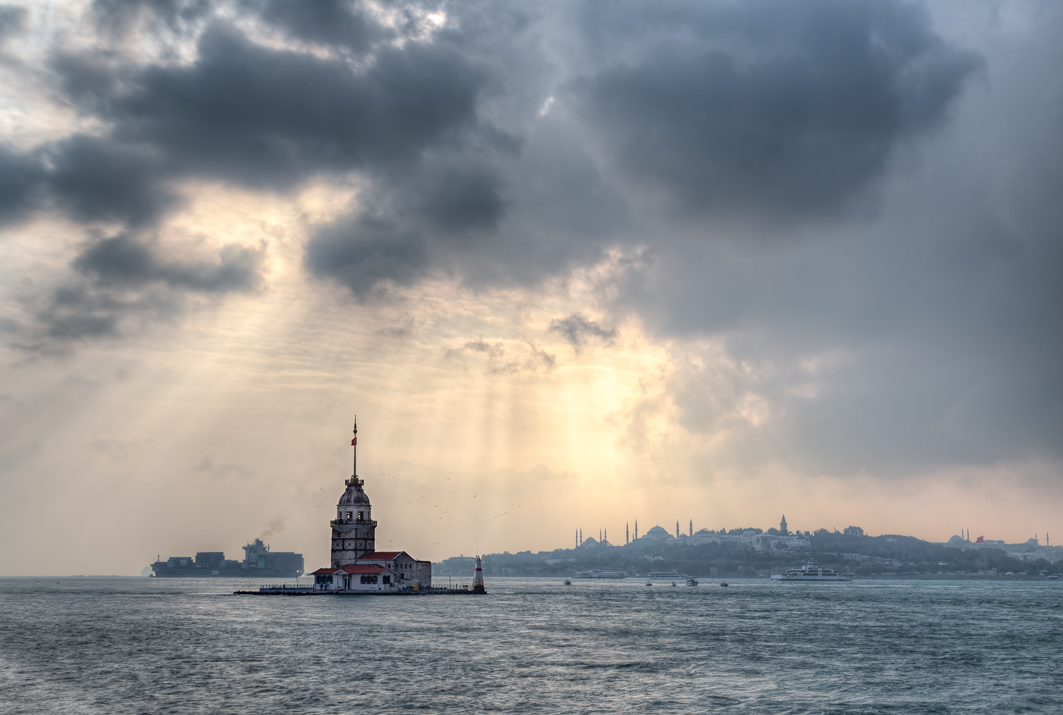 The Maiden's Tower (Kız Kulesi in Turkish), is also known as Leander's Tower since the medieval Byzantine period. It's located on a small islet 200m from the coast of Üsküdar in Istanbul.