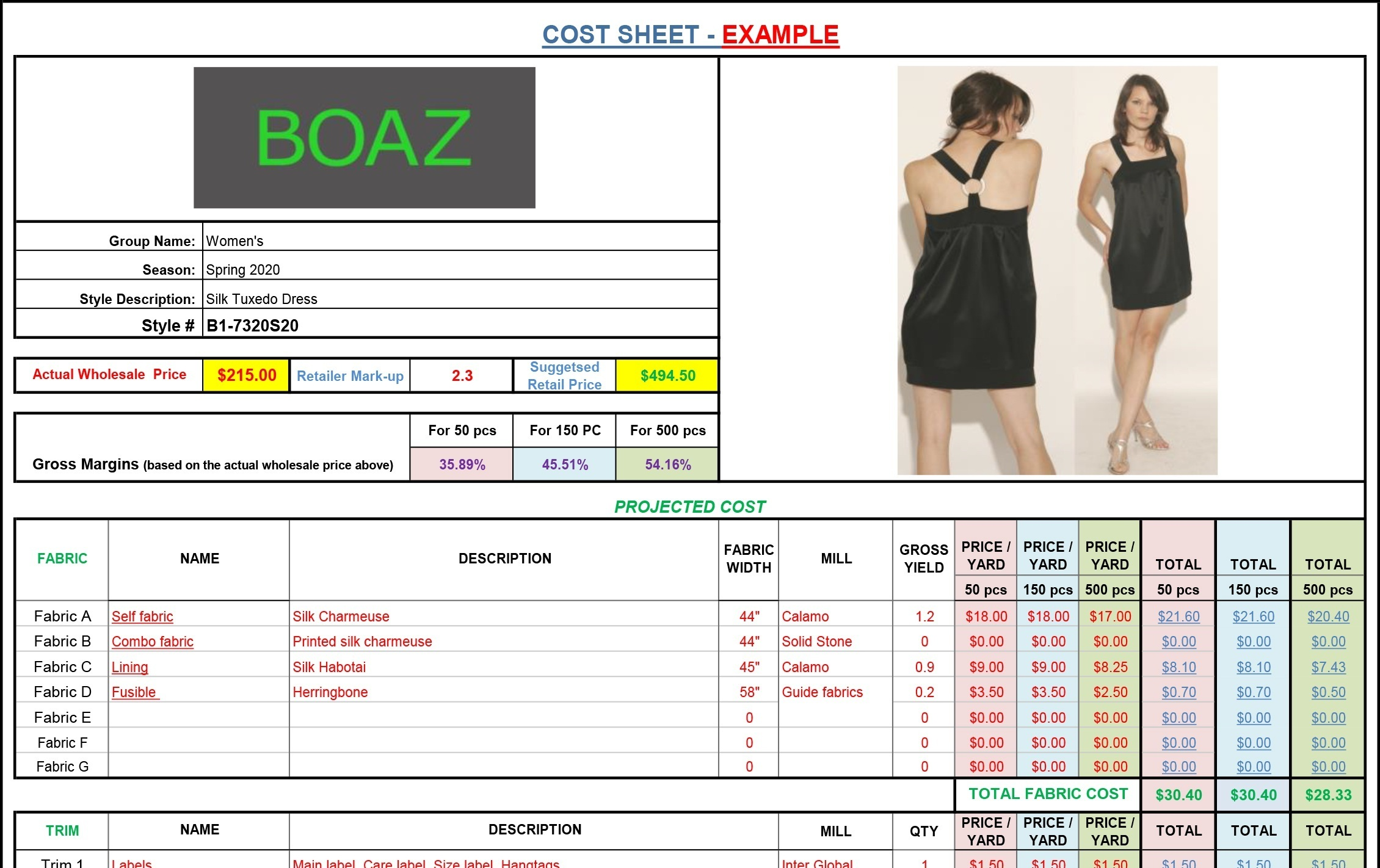 Cost Sheet Form New Version Fashion Business Solutions Human B