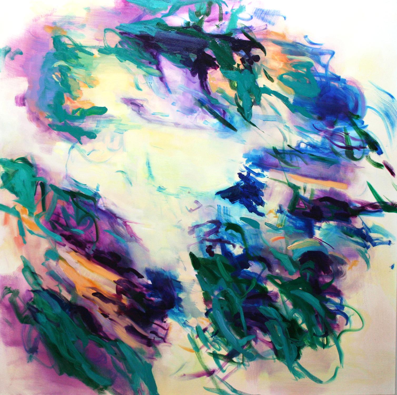 Untitled  (lemon  turquoise)  2017  oil on canvas  145 x 145 cm