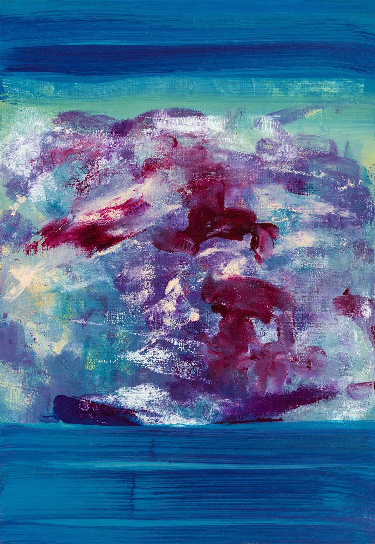Untitled  (crimson blue)  2017  Oil on panel  32 x 22cm