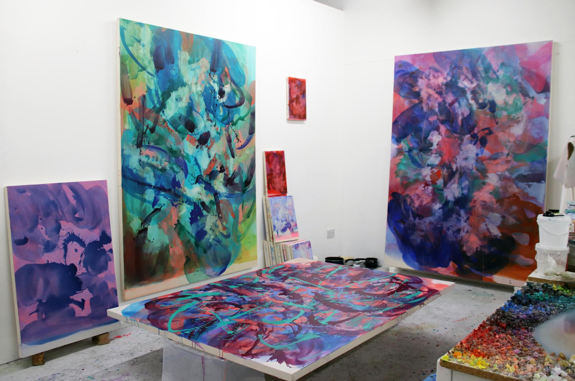 Distemper paintings  Studio shot  work in progress  2019