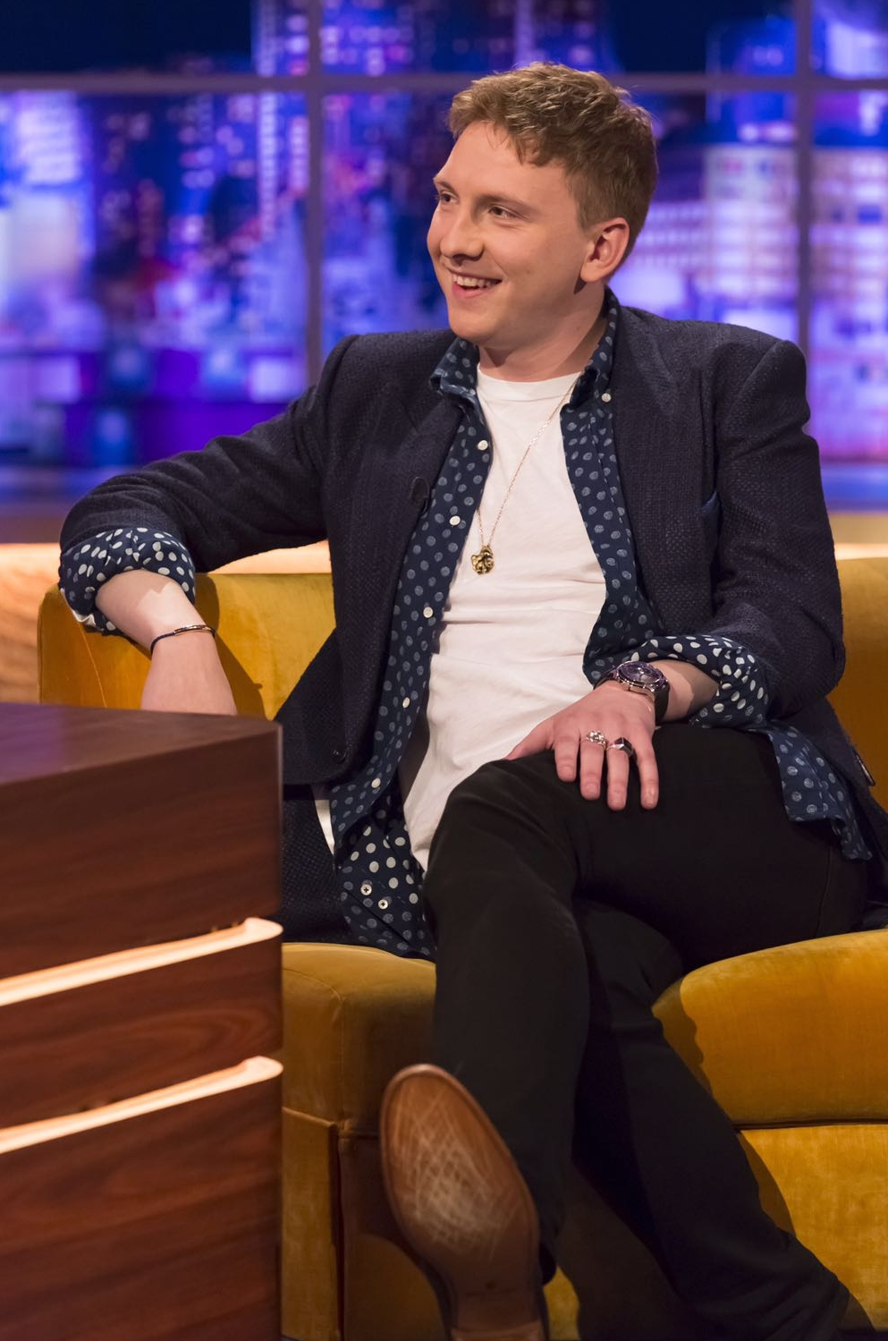Award winning Comedian Joe Lycett wearing a GANDHUM AW16 collection blended jacket to the Jonathan Ross Show.   Photo Credit: Brian J Ritchie/Hotsauce Editorial Use Only. Hotsauce/REX/Shutterstock