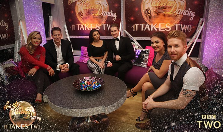Professional dancer Neil Jones wearing his GANDHUM outfit on BBC's It takes Two for Strictly Come Dancing