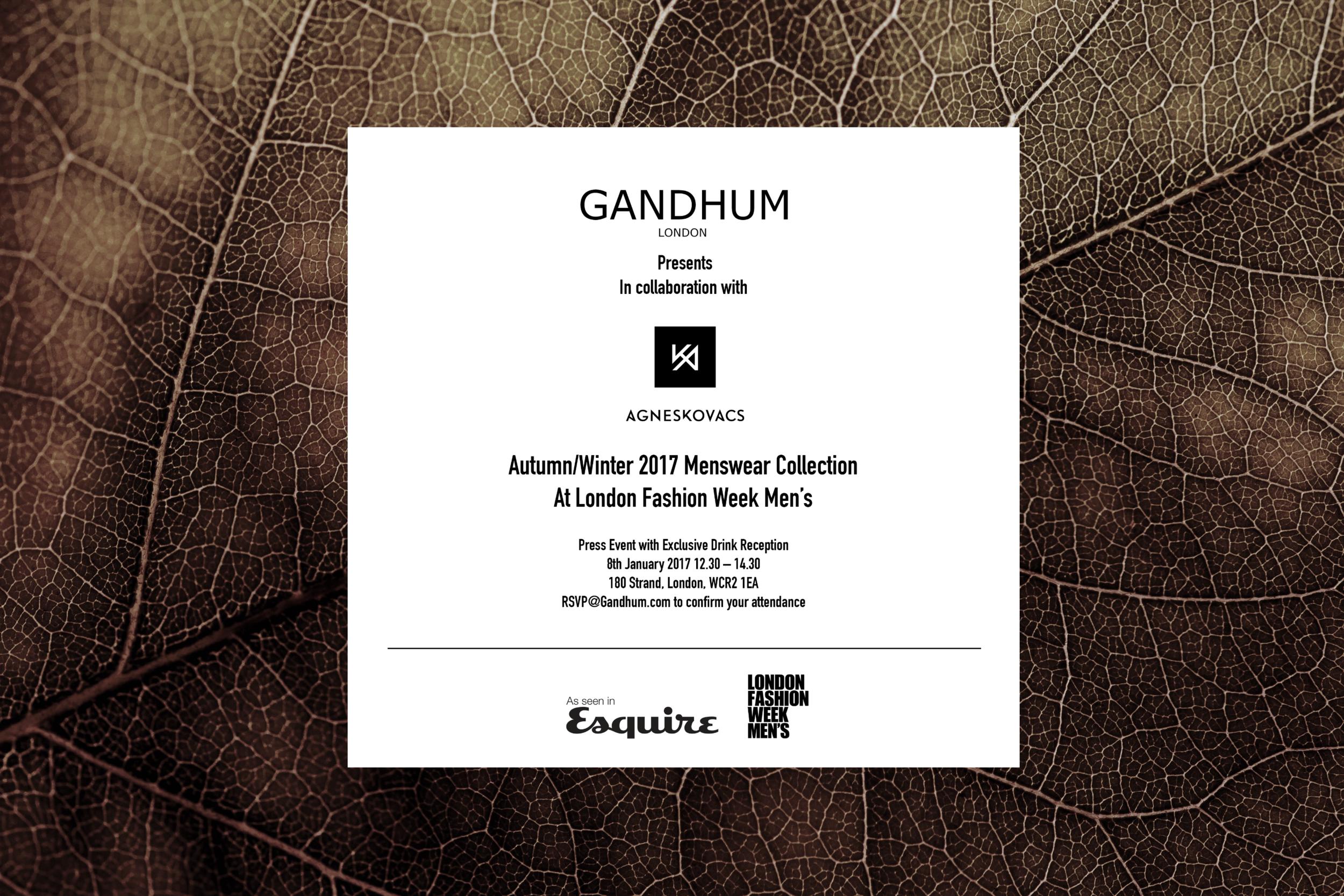 GANDHUM at London Fashion Week Men's - Designer Showrooms during 6th to 9th January 2017