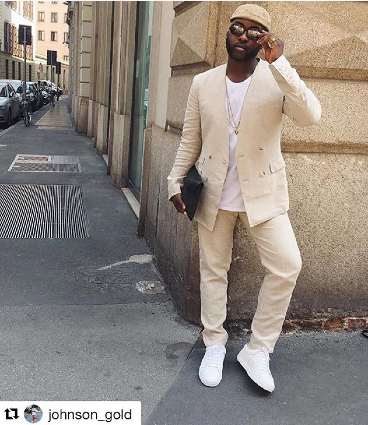 Johnson Gold from  @pause_online in his statement SS17 GANDHUM linen suit