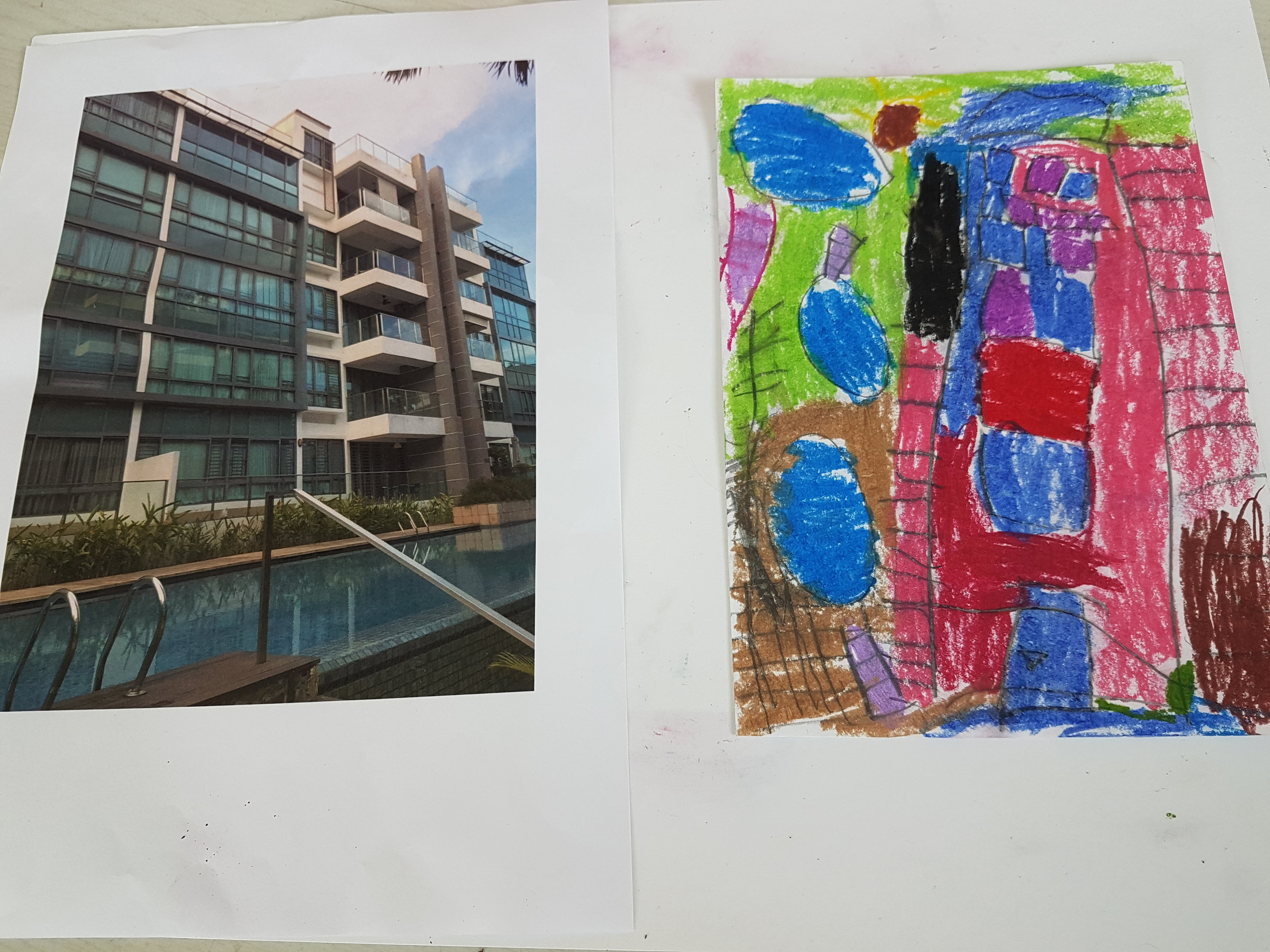The Layers of Love, Dear You art project. This picture depicts the artist's home and their artistic representation of it from the outside.