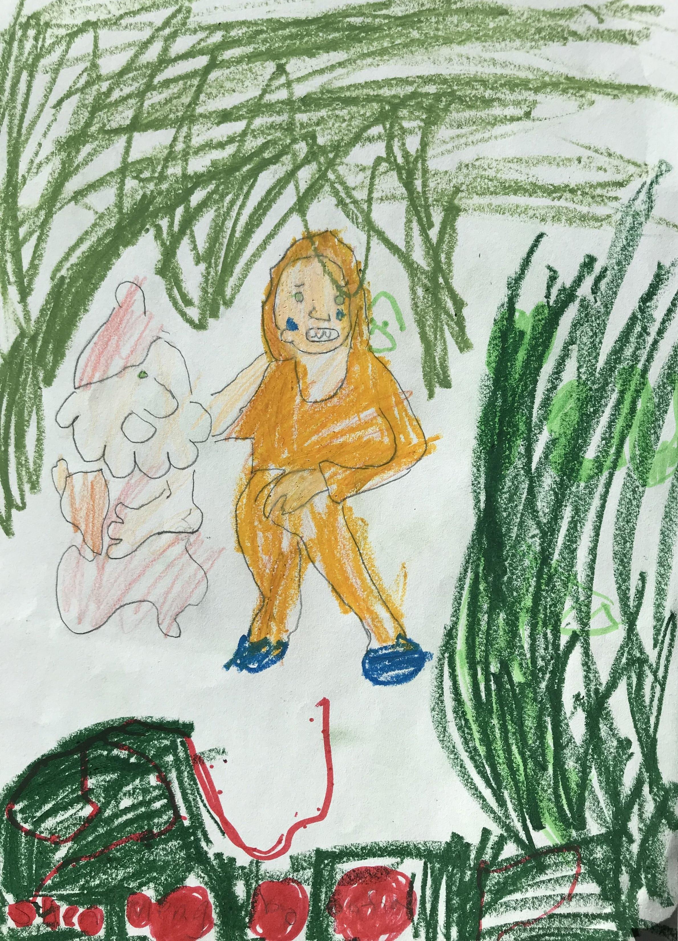 这件作品是一个在赫尔辛基9岁的芬兰小朋友在2018年为他深圳的朋友画的。
