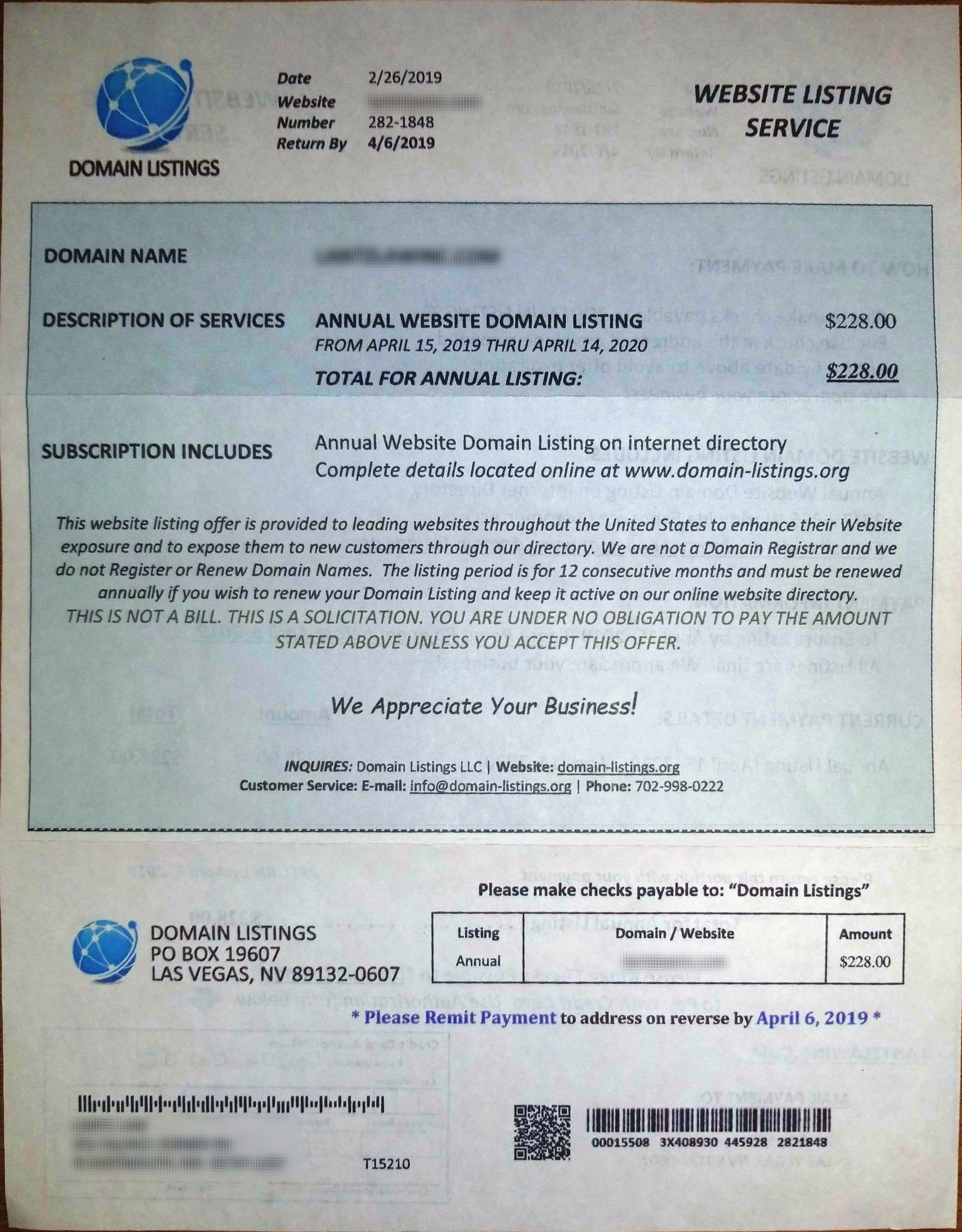 Domain Listings scam letter front.jpg