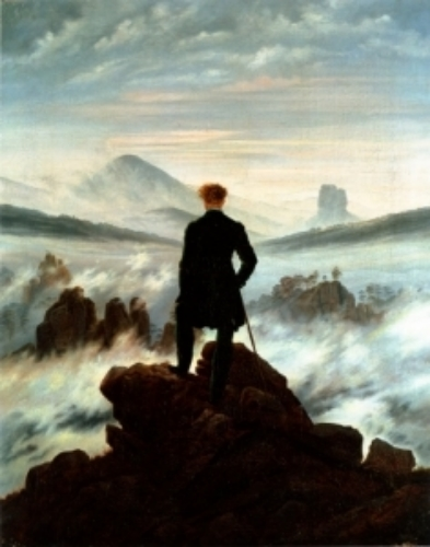 Caspar David Friedrich,  Wanderer Looking Above a Sea of Fog , 1818
