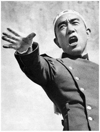 Yukio Mishima giving his speech to the soldiers just before he committed Seppuku.