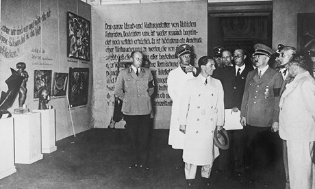 Hitler and Goebbels visit the exhibit.