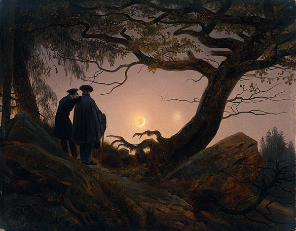 Two Men Contemplating the Moon , c 1830