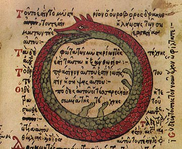 An ouroboros by Theodoros Pelecanos 1478. It is a copy of a lost alchemical tract by Synesius.