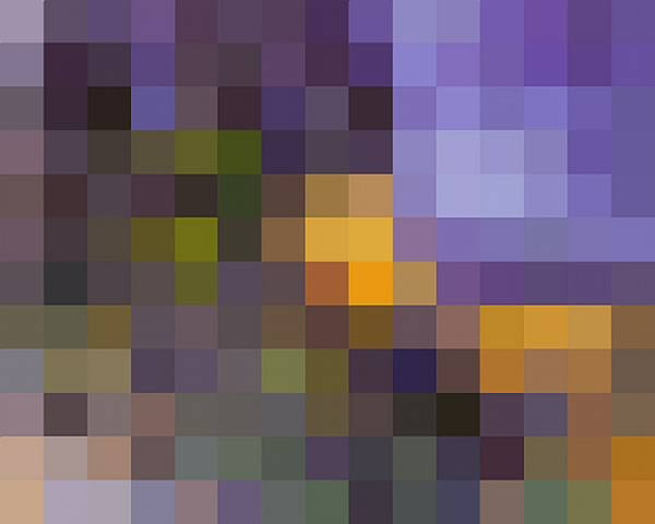 After Cezanne , 2007.  This is a pixelated photograph of a Cezanne painting.